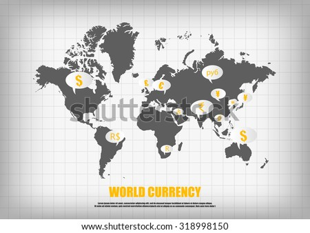 Country currencies download free vector art stock graphics images vector world map and currency in bubble quotes for each country gumiabroncs Choice Image