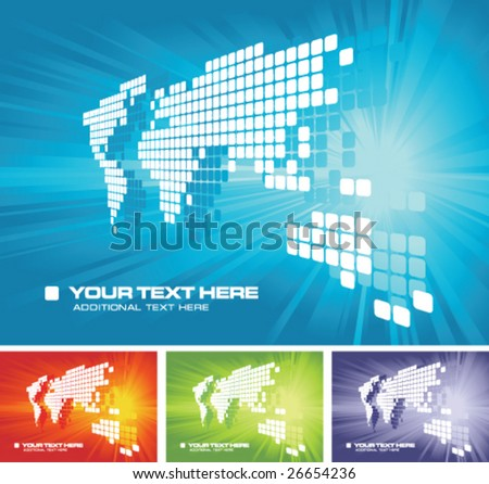 Vector world map background with copy space and color variations - stock vector