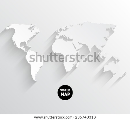 Modern Design World Map. Vector world map background with long shadow and flat design style  clean modern Free World Map With Shadows Download Art