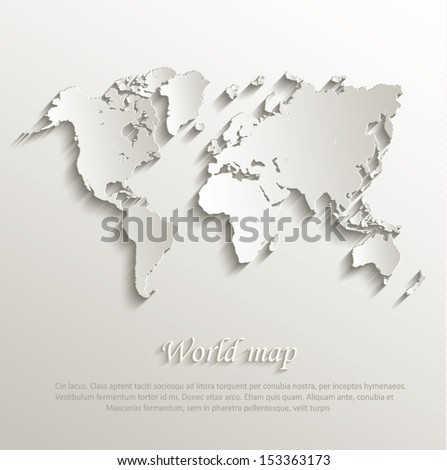 vector world map card paper 3d