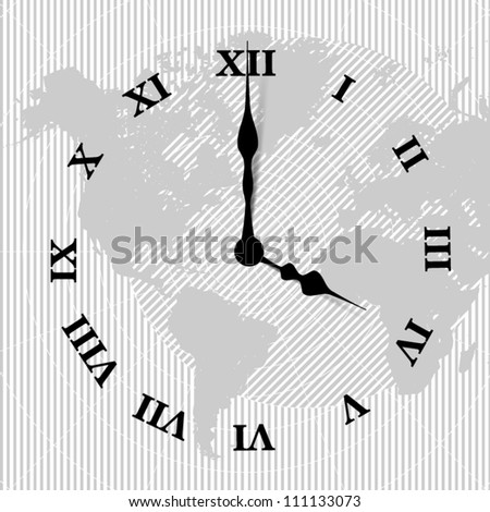 Vector world map clock