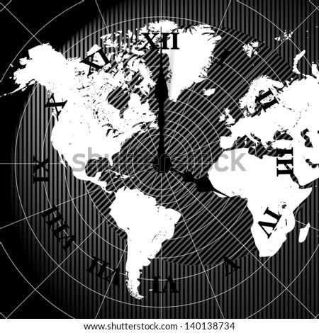 Vector world map clock background
