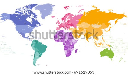 Colorful world map vector download free vector art stock vector world map colored by continents gumiabroncs Gallery