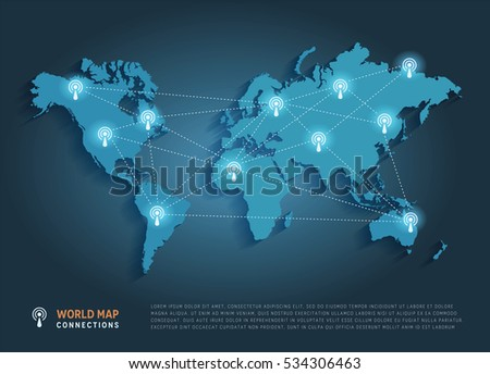 Vector world map connection. Technology concept.