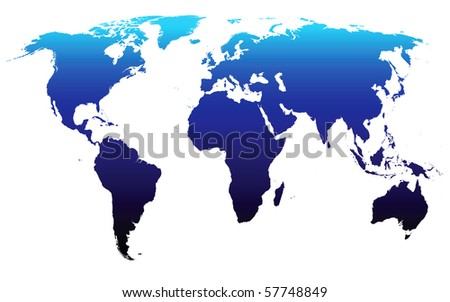 Vector world map (derived from NASA world map) - stock vector