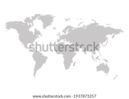 Vector world map, gray silhouette isolated on white background, illustration template.