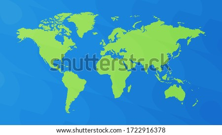 Vector world map, green and blue gradient color, abstract pattern, illustration