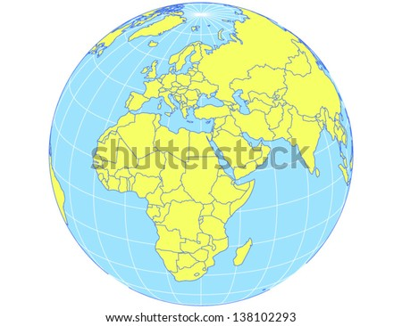 vector world map in orthographic projection as globe centered on europe and africa eps10 file