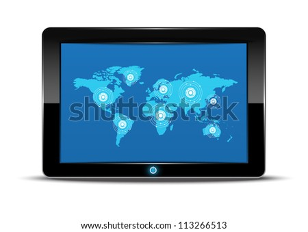 vector world map interface in tablet computer