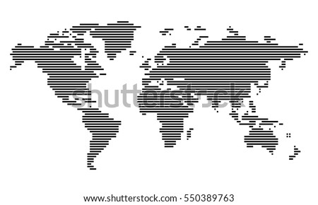 Vector - World map (Lines/Stripes, horizontal)