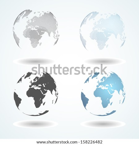 vector world map on sphere
