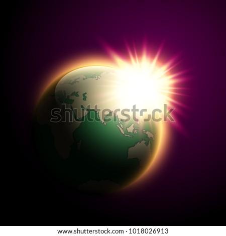 vector world map rising sun