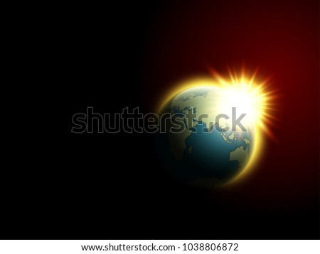 Solar eclipse vector space view download free vector art stock vector world map rising sun solar eclipse globe icon space sunlight planet earth gumiabroncs Images