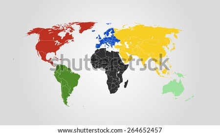 Vector World Map. Symbolic colors for every Continent. High detail illustration. 2015 version.