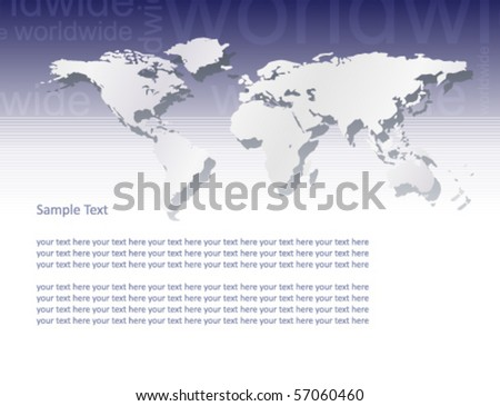 Vector world map (text â??worldwideâ?� in blue background part)