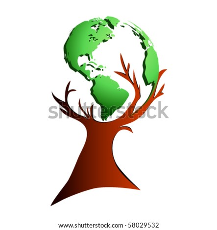Vector - world map, tree - stock vector