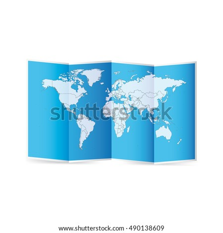 Vector World Map With Borders Of States And Countries On Paper