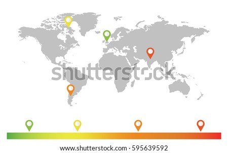 vector world map with color location icon elements of this image furnished by nasa