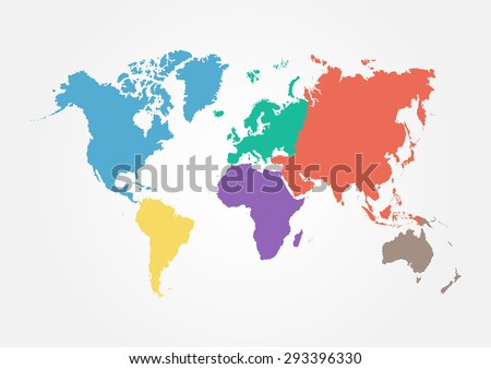 World continents map vector download free vector art stock vector world map with continent in different color flat design gumiabroncs
