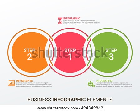 Vector world map with infographic elements. Template for diagram, graph, presentation. Business concept with 3 options, parts, steps or processes. Abstract background