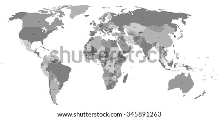 vector world map with labels of