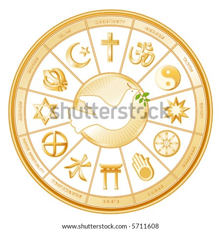 vector, WORLD RELIGIONS, DOVE OF PEACE. Buddhism, Islam, Hindu, Taoism, Christianity, Sikh, Native Spirituality,  Confucianism, Shinto, Baha'i, Jain, Judaism. EPS8 compatible.