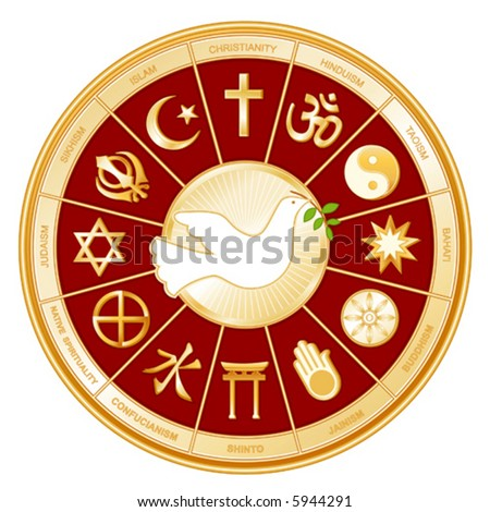 vector, WORLD RELIGIONS, DOVE OF PEACE: Buddhist, Islam, Hindu, Taoism, Christianity, Sikh, Native Spirituality,  Confucianism, Shinto, Baha'i, Jain, Judaism. EPS8 compatible.
