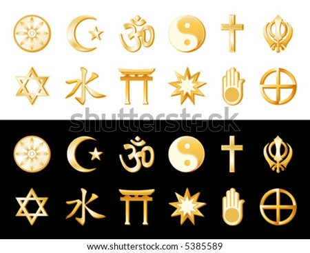 vector, WORLD RELIGIONS, Golden Symbols: Buddhism, Islam, Hindu, Taoism, Christianity, Sikh, Native Spirituality, Confucianism, Shinto, Baha'i, Jain, Judaism. EPS8 compatible. - stock vector