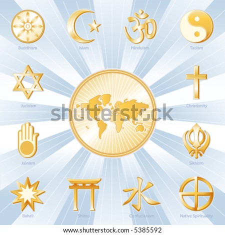 Vector, World Religions, Map: Buddhism, Islam, Hindu, Taoism ...