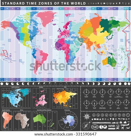 Vector World Standard Time Zones Map All Continent Separately