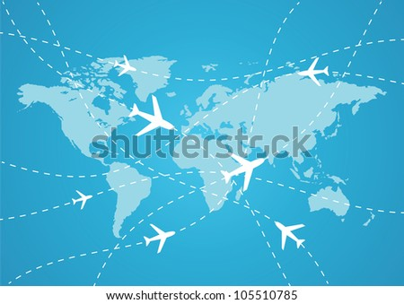 vector world travel map with airplanes stock photo