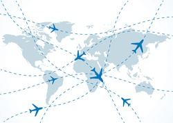 vector world travel map with planes.