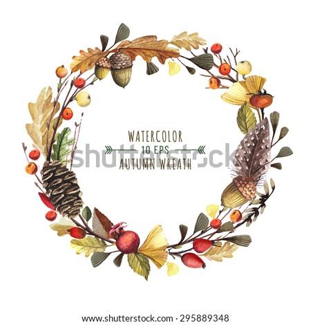 vector wreath of autumn leaves
