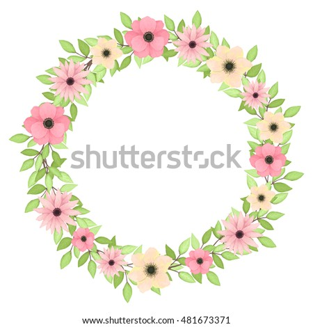 Vector Wreath with Light Green Leaves, Pink and Yellow Flowers