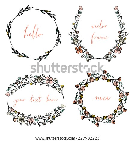 Vector Wreaths and Laurel Wreaths. Round Flower Vector Frames. Decorative Frames Vector.