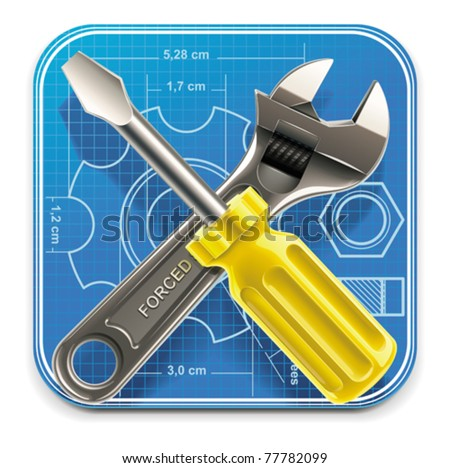 Vector wrench and screwdriver on blueprint XXL square icon - stock vector