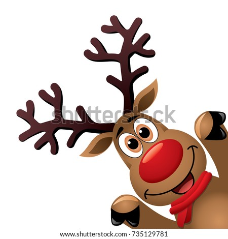 vector xmas drawing of funny red nosed reindeer. christmas card illustration. cartoon rudolph deer with red scarf and big horns on white background, blank copy space. eps10 illustration