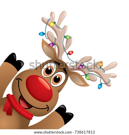 vector xmas drawing of funny red nosed reindeer. christmas card illustration. cartoon rudolph deer with red scarf and christmas lights on big horns, blank copy space. eps10 illustration