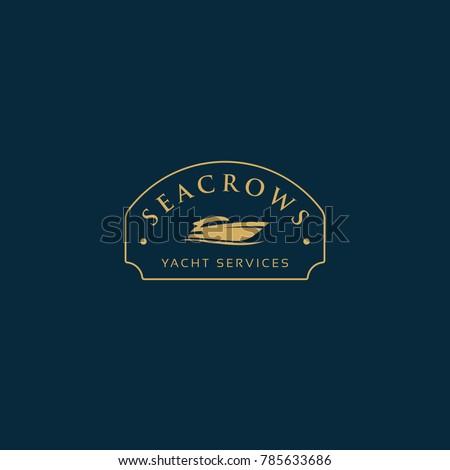Vector yacht geometric illustration for logo, label design. Summer, travel, adventure, holidays, nautical, lifestyle themes.