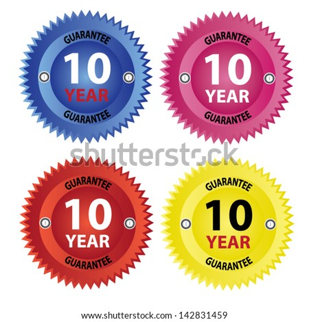 Vector, 10 years guarantee colorful sign