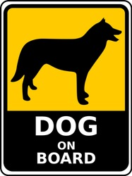 Vector Yellow Alert Sign for car of Dog on board