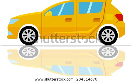 vector yellow car