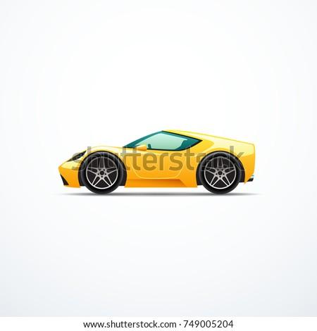 vector yellow cartoon sport car