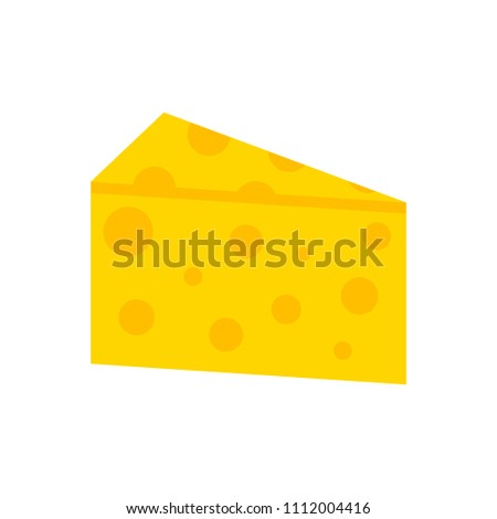 vector yellow cheese illustration isolated, breakfast or snack symbol