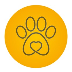 Vector yellow circle icon logo dog / cat track with heart