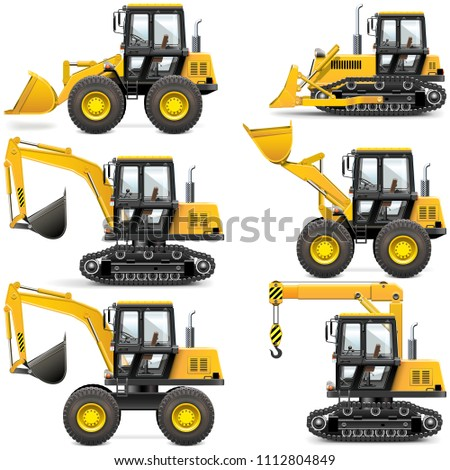 Vector Yellow Construction Machinery isolated on white background
