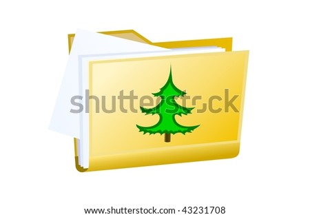 vector yellow folder tree