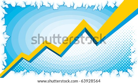 Vector yellow Graph with blue background and white ice border