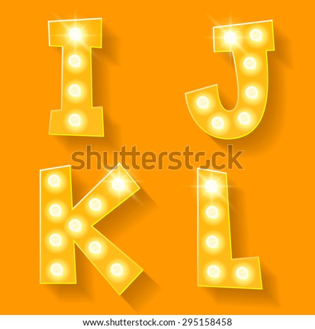 vector yellow lamp alphabet for