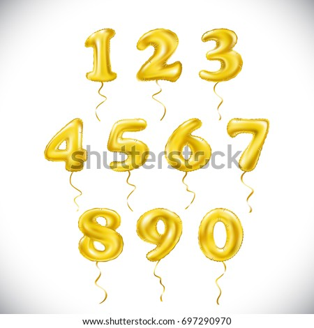 vector yellow number 1, 2, 3, 4, 5, 6, 7, 8, 9, 0 metallic balloon. Party decoration golden balloons. Anniversary sign for happy holiday, celebration, birthday, carnival, new year. art